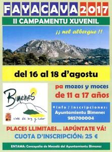 CARTELU II Campamentu Xuvenil Fayacava 2017
