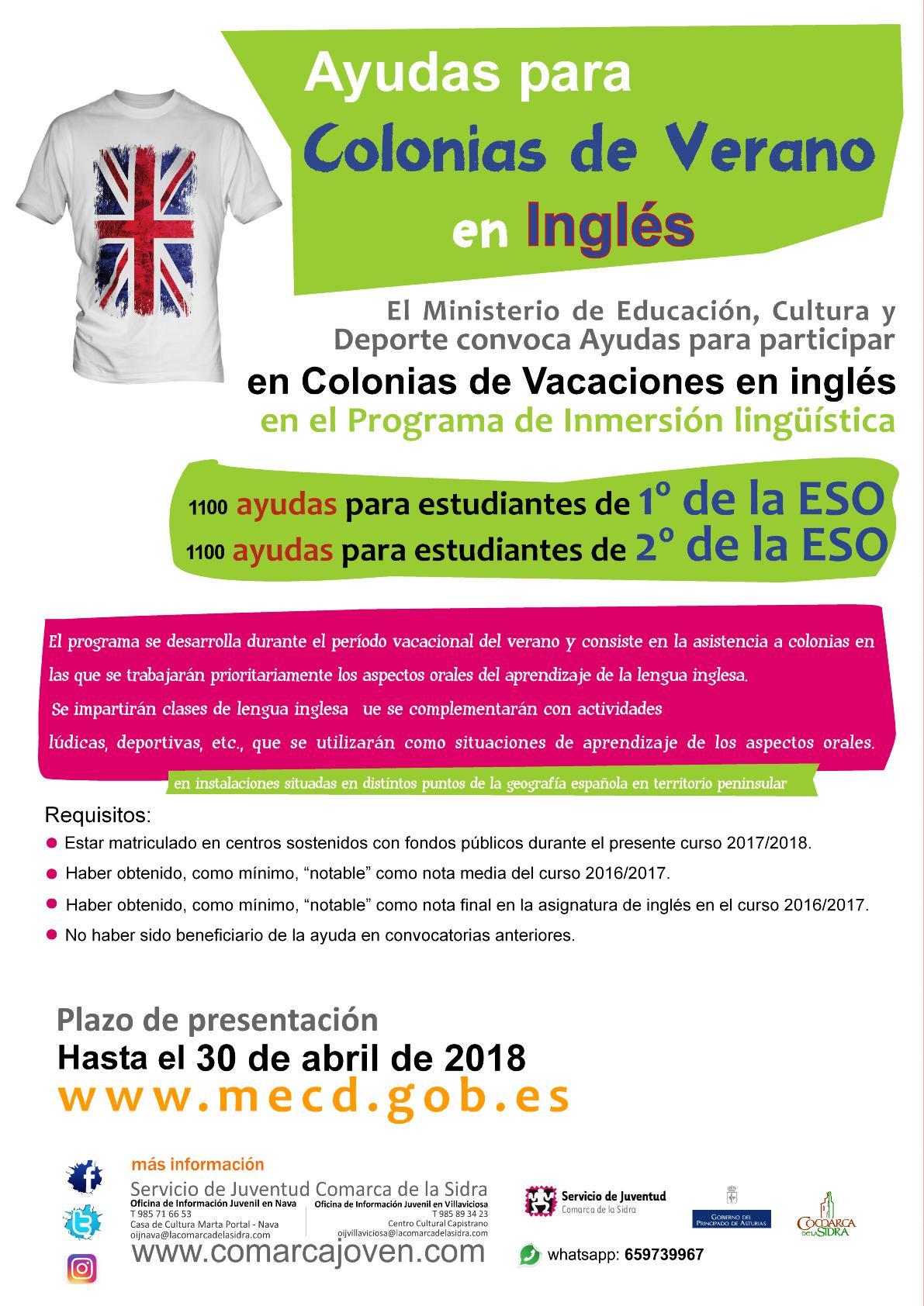 Programa de Inmersión lingüística en colonias de vacaciones