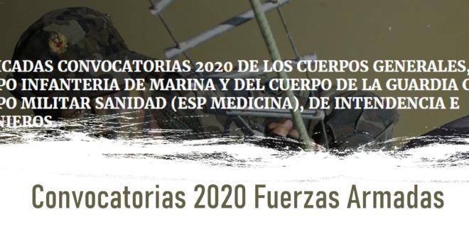 Convocatorias 2020 Fuerzas Armadas
